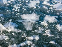 Large crystals on the ice of Lake Baikal stock photography