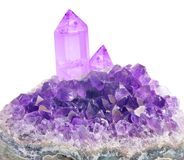 Large crystals in lilac amethyst druse on white Royalty Free Stock Photo