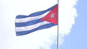 Large Cuban Flag Waving on the air stock video