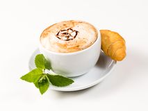 Large cup of coffee and croissants Royalty Free Stock Photo