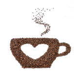 Large cup of coffee with a heart symbol Stock Images