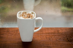 Large cup of coffee with marshmallows on the window Royalty Free Stock Photography
