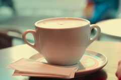 Large Cup Of Coffee In Retro Style Colors Stock Image