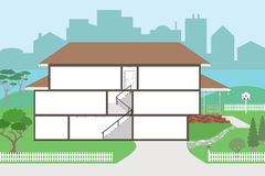 Large Cutaway House Ready to Decorate stock illustration