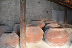 Large cypriot old oil jars Royalty Free Stock Photos