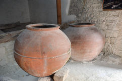 Large cypriot old oil jars Royalty Free Stock Photo
