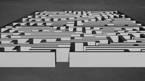 Large 3D maze structure on concrete Stock Photos