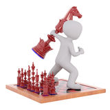 Large 3d toon playing game of chess Stock Photography