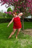 Large dancer in position Royalty Free Stock Images