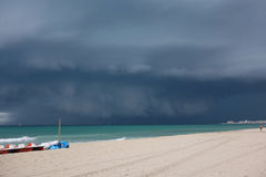 A large dark cloud over the Mediterranean Sea Stock Photography