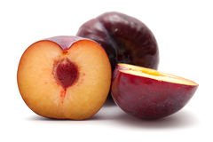 Large dark plums Stock Photo