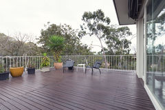 Free Large Deck Patio Terrace With A View Of The Treetops Royalty Free Stock Photo - 85256245