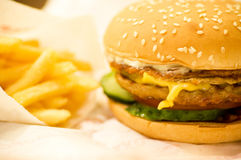 Large delicious hamburger Royalty Free Stock Photos