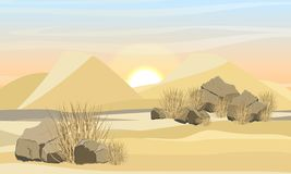 Large desert with sand dunes, dry grass and stones. Nature of Africa and Australia. Sahara Desert. Victoria desert. Realistic Vector Landscape stock illustration