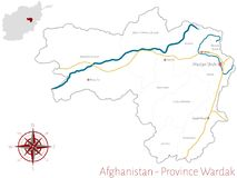 Map of the Afghan Province of Wardak Stock Photography