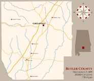 Map of Butler County in Alabama. Large and detailed map of Butler county in Alabama, USA stock illustration