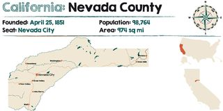 California - Nevada county. Large and detailed map of California - Nevada county Royalty Free Stock Photos