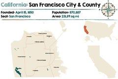 California - San Francisco county map. Large and detailed map of California - San Francisco  county Stock Photos