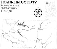 Map of Franklin County in Alabama. Large and detailed map of Franklin county in Alabama, USA vector illustration