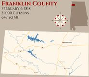 Map of Franklin County in Alabama. Large and detailed map of Franklin county in Alabama, USA royalty free illustration