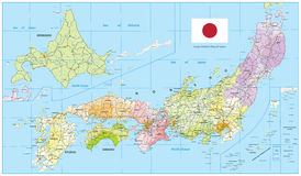 Large Detailed Map of Japan Royalty Free Stock Photo