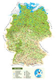 Large detailed physical map of Germany. Large detailed road map of Germany with topographic contours, all cities, villages, water objects, mountains and airports Stock Photos