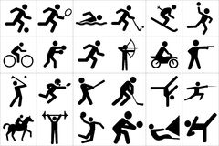 Sports icon set. Large and detailed set of different sports icons royalty free illustration