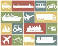 Icon set of vehicles. Large and detailed set of different vehicle icons Royalty Free Stock Image