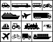 Icon set of vehicles. Large and detailed set of different vehicle icons Stock Image