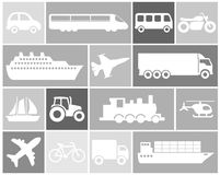 Icon set of vehicles. Large and detailed set of different vehicle icons Royalty Free Stock Photography