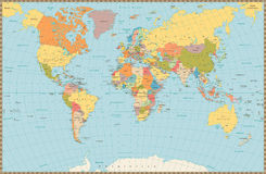 Large detailed vintage color political World Map Stock Photos
