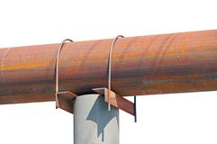 Large diameter rusty steel pipe. On white background royalty free stock photos