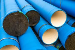 Large-diameter water pipes for water. Large-diameter water pipes for plumbing on some are put on plastic storage stubs royalty free stock image