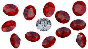 Large diamond among red rubies. Crystal diamond among red rubies isolated over white. Extralarge resolution stock illustration