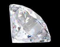 Large diamond with sparkles over black background Royalty Free Stock Photos