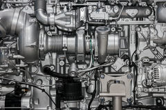 Large diesel engine. Close up of the mechanics of a large diesel engine stock photography