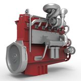 Large diesel engine isolated on a white background. 3d illustration Stock Photography