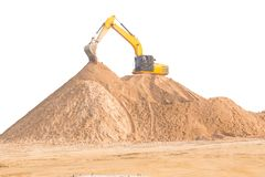 Large diesel mechanical excavator digging earth machine at excavation working in road construction.  stock photography