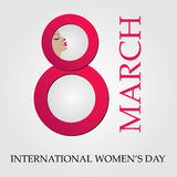 Large digit 8 with face of a woman for international womens day Stock Photography