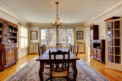 Large dining room in luxury house Royalty Free Stock Photo