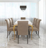 Large dining table for eight in the style of art Deco. Stock Photography