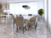 Large dining table for eight in the style of art Deco. Stock Images