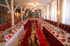 Large Dinner Banquet. Large banquet hall with a meal stock photos