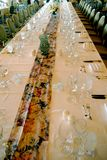 Large Dinner Table. A large dinner table is set for diner Royalty Free Stock Photos