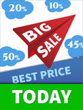 Large Discounts, big sale, vector airplane in the sky. Stock Photography