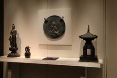 Large display case with array of oriental treasures, Cleveland Art Museum, Ohio, 2016 Stock Photography