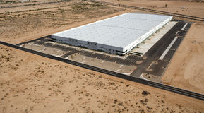 Large Distribution Warehouse. New and modern aerial view of a very large distribution warehouse stock photos