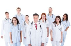 Large diverse group of medical staff in uniform Stock Image