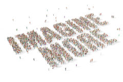 Large and diverse group of people gathered together in the shape. Of the word imagine more Stock Image