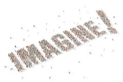 Large and diverse group of people gathered together in the shape. Group of people gathered together in the shape of the word imagine more Royalty Free Stock Photography